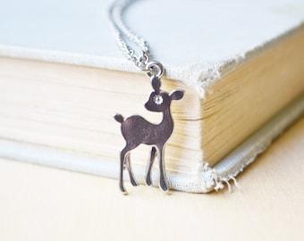 Delicate Silver Deer Necklace