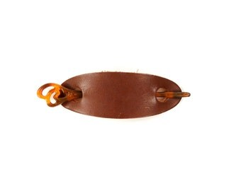 Vintage 1970's Dark Brown Leather + Lucite Plastic Hair Pin Stick Boho Long Oval Circle Barrette