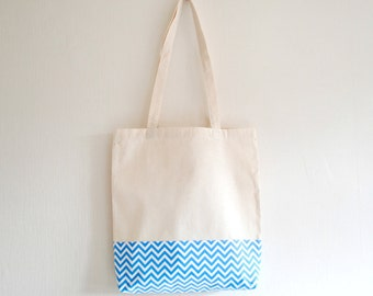 Shopper eco friendly blue tote market bag accent print chevron zig zag print cotton zero waste produce shoulder bag in blue and white.