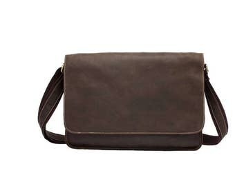 Simple brown leather messenger bag