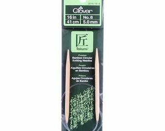One Set of Clover Takumi Bamboo 16in Circular Knitting Needle Size 8 # 3016CV16-8