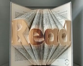 Read book art-book origami-library /study decoration-Gift for authors/book worms/librarian