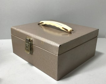Metal Cash Box, Security Box, Mid Century Metal Box, Box with Handle, Industrial Box, Storage Metal Box