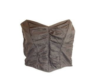 Vintage 1980s Black Ruched Strapless Bustier By Escora. U.K Size 40/42 C/D Cup.