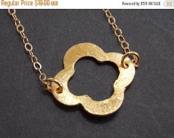 SALE Clover Necklace, Gold Necklace, Vermeil, Quatrefoil Necklace, Four Leaf, 14k Gold Filled Necklace, Brushed, Bridesmaid Gifts, Birthday