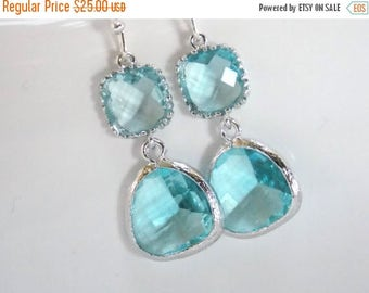 SALE Blue Earrings, Aquamarine Earrings, Aqua Earrings, Silver Glass Earrings, Wedding, Bridesmaid Earrings, Bridal Jewelry, Bridesmaid Gift