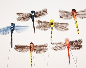 12 Pc 4 Inch Craft Dragonfly on Wire Pick (Oprah) NEW!, Dragonfly Pick, Floral Accent, Plant Decor