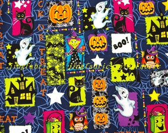 C320 - 135cmx100cm Hot silver Cotton Fabric - ghost,cat,bat,girl,pumpkin,owl and castl