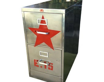 red star file cabinet,  metal, brushed and polished steel  cabinet with two drawers and silver hardware made to order