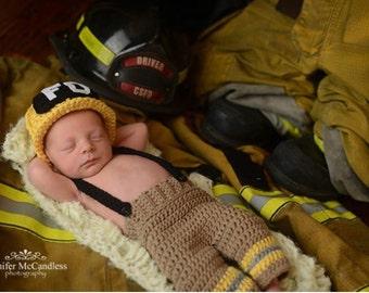 Crochet Newborn Fireman Set, baby firefighter outfit, fireman set, newborn fireman hat, fireman newborn prop