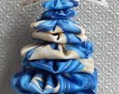 Blue, Cream and Silver Chevron Yo Yo Tree Ornament