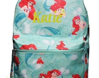 Personalized Ariel The Little Mermaid Print Canvas School Backpack  FREE Monogram
