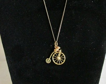 """Whimsical 12K Gold filled Necklace, Monkey on a Unicycle Pendant, 12KT 18"""" Chain, Dainty Chain, Keepsake Jewelry, Collectible Jewelry"""