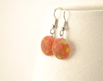 Silky summer freckles - medium red and orange matte fused glass dangle earrings with steel earhooks, bright summer jewelry, faux seaglass