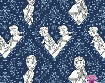 125139295 - Frozen Coloring Fabric - Damask - Navy - by the Yard