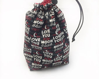 Love You, Dice Bag, Draw String Bag, Free Standing, Revisable, Gamer Bag, D&D Dice Bag, Makeup Bag, Small Gift Bag, Pouch, RTS