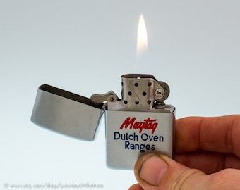 1953-1955 Steel Zippo Windproof Lighter Advertising Maytag Dutch Oven Ranges
