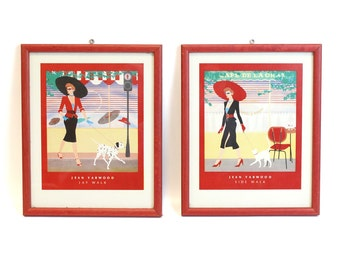 Pair of Framed 1980's Jean Yarwood Prints 'Sidewalk' and 'Jaywalk'