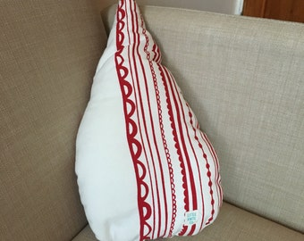 Red and white raindrop cushion // ready to ship