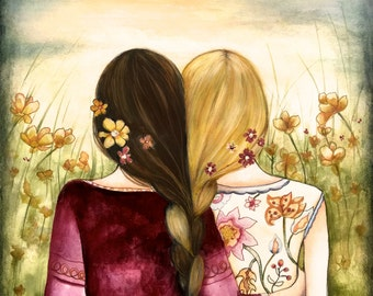 Art print sisters best friends  gift idea  with brown and blonde  braided hair