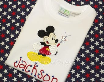 Mickey Mouse 4th of July - Appliqued and Personalized - Applique will be filled in with Fabric