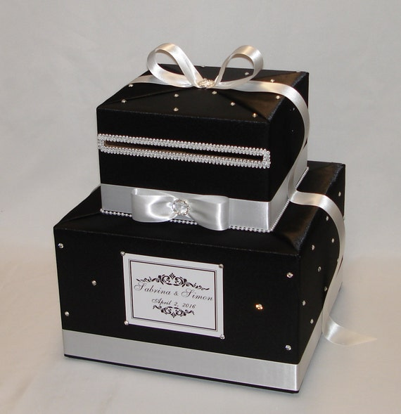 Two Tier BLACK AND WHITE Wedding Card Box
