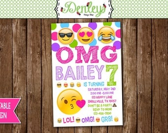 Emoji Invitation, Emoji Birthday Invitations, Emoji Party Printable, Emoji Invitation (EM03)