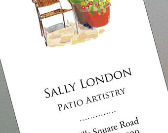 Calling Card with Patio,  Container plants, Garden Set, Set of 50
