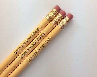 Lucky CPA exam pencil set engraved pencils in buttercream. You totally got this.