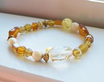 Gold Bead Bracelet Yellow Cream Amber Gold Bead Stretch Bracelet