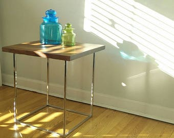 Milo Baughman Thinline Occasional Table Chrome & Walnut