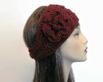 Crochet Head  band Burgundy Headband with Flower Red knit Headwrap Head Band Crochet Warmer earwarmer Burgundy earwarmer crochet ear warmer
