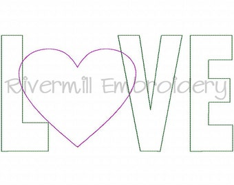 Raggy Applique Love With A Heart Machine Embroidery Design - 4 Sizes