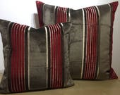 Custome Oorder for ANTONIA. Osborne and Little SALON VELVET narrow stripes in Red & Brown set with a wide Mocha striped velvet cushion cover