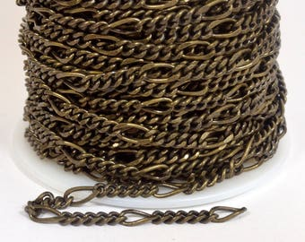 5:1 Figaro Chain - Antique Brass - CH45 - Choose Your Length