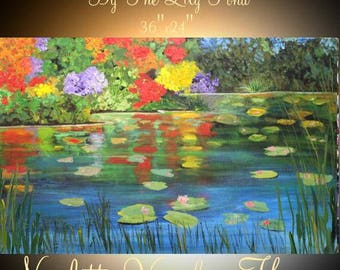 """ORIGINAL 36""""Abstract Acrylic gallery canvas-Contemporary Palette Knife Impasto painting """"By The Lily Pond""""  by Nicolette Vaughan Horner"""