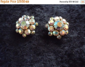 Christmas Sale Vintage Aurora Borealis Rhinestone Clip On Earrings Mid Century Collectible Costume Jewelry 1950s