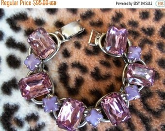 Vintage Purple Rhinestone Bracelet 1950's 1960's Collectible Lavender Moon Stone Mad Men Mod Hollywood Regency Rockabilly Jewelry