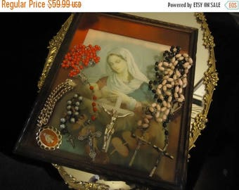 On Sale Vintage Rosary Lot 6 Pieces Religous Crosses Chaplet Bracelet Mother Mary Picture Mid Century Collectible Home Decor