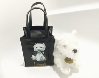 Harrods Tote Bag with West Highland Terrier Dog Toy - Westie Dog Plush Toy - Harrods Bag with Dog and Leash