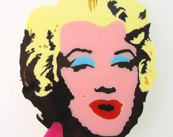 Marilyn Monroe | Andy Warhol's Monroe | Andy Warhol Monroe Brooch | Marilyn Monroe Big Plexiglass Brooch | Handmade Brooch | Plexi Shock