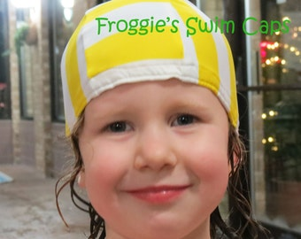 Lycra SWiM CaP - LEMONADE YELLOW - Sizes - Baby , Child , Adult , XL - Made from Spandex / Swimsuit Swimming Fabric -by Froggie's Swim Caps