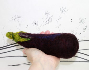 Needle Felted Eggplant For Bowl Fillers Or Kitchen Decor Purple Eggplant Felted Wool Eggplant
