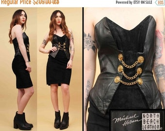 SALE 25%OFF 80s Vtg North Beach Leather HOBAN Jet Black Suede & Gold Chain Mini Dress / Strapless Military Bustier Bodycon / Sm