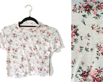 Grunge Ditsy Roses Floral Print 90s  Inspired Crop Top Made to Order