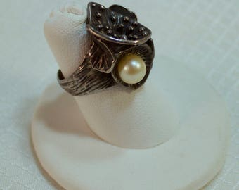 Sterling Art Nouveau Waterlily Adjustable Ring with Cultured Pearl, Waterlilies Ring