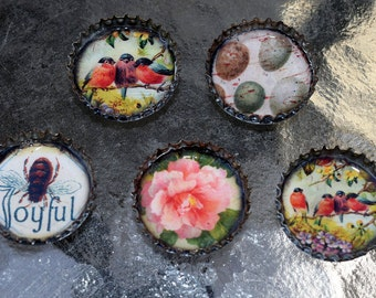 Springtime Bottle Cap Magnet Set of 5