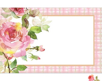"50 Pink Rose ""Gingham Border"" Print Florist Blank Enclosure Cards Small Tags Crafts (Free Shipping!)"