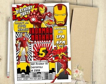 Ironman Invitation Incredible Ironman Birthday Party Comic Book Customized Superhero Invitation PRINTABLE Retro