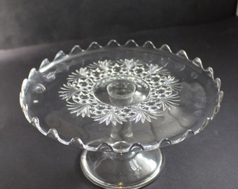 EAPG Cake Plate by Bryce Higbee and Co in Charm Pattern  1895